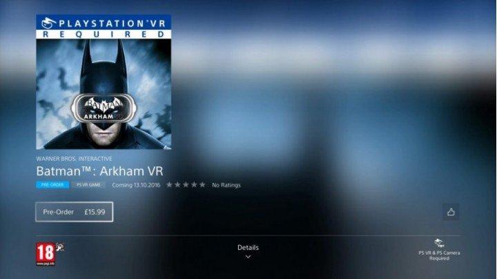 Предварительные заказы и геймплей Batman Akrham VR