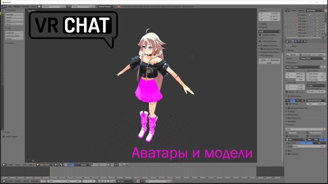 VRChat аватары и модели